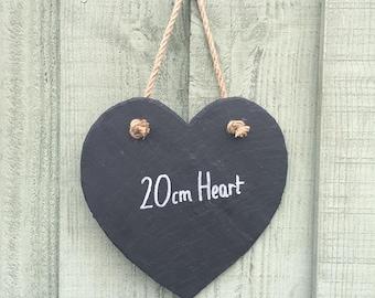 Handmade Natural Slate Heart Shaped Chalkboard Notice Memo Kitchen Chalk Board 20cm x 20cm