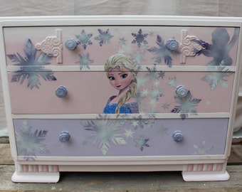 Upcycled Film inspired chest of drawers from Frozen