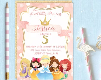 Princess Belle Cinderella Ariel inspired Girls Birthday Party Invitation Invite Digital Download Printable Customised Personalised