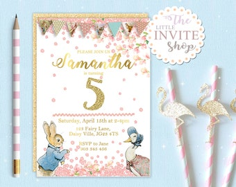 Peter Rabbit Jemima Duck Invite | Birthday Party Invitation | Customised Personalised Digital Download | Printable | Forest Floral Woodland
