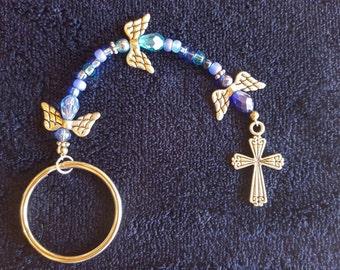 Angel and Cross Keychain