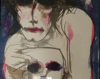 Vivid, original painting, figurative - Expression I