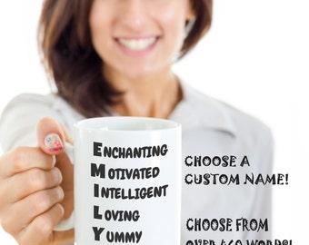Inspiring Mug - Uplifting Mug - Gratitude Mug - Acrostic Name Custom Name Mug - Moniker Mug - Emily (sample)