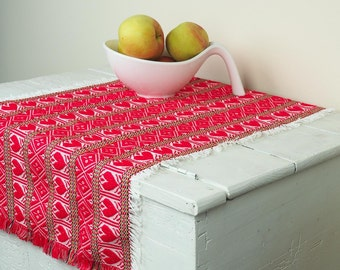 Woven tablecloth/tablerunner with beautifull heart motives in red colour / Ethnic fabric / Folk art /