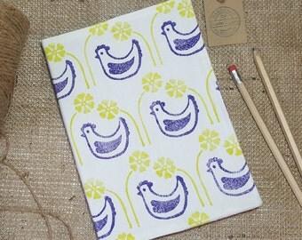 Fleurs Garden A5 Notebook, Chicken notebook, Hen Notebook, Flower notebook, Fabric notebook, Hardback notebook, Stationary