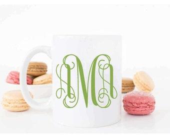 MONOGRAMMED  Mug/Coffee Mug/Custom Mug/Coffee mugs/Mugs/Housewarming gift/teacher gift/Ceramic White Coffee Mug