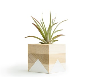White Geometric Pot, Wood Air Planter, Gifts for Her, Air Plant Holder, Indoor Planter, Small Wood Pot, Sweet Mom Gift, Bridesmaid Gifts