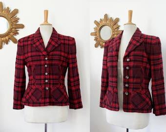 Blazer, jacket, Sonia Rykiel, Paris, France, red, black, Plaid, tartan, tweed loop, fitted, vintage, M, en 40/42, UK 12/14, USA 8 / 10