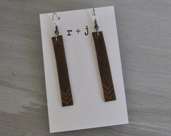 Leather earrings - bars, genuine leather, lightweight, multiple designs / Chevron leather earrings / Bar earrings / Lightweight earrings