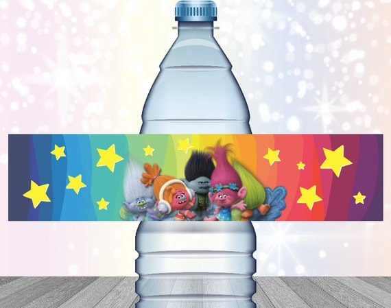 Trolls Birthday Party Water Bottle Labels