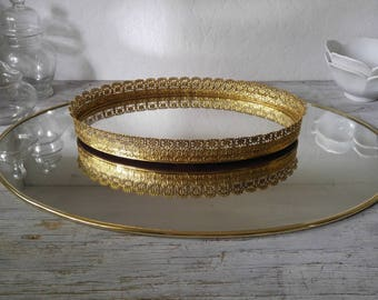 Vintage Brass Mirror Perfume Jewelry Tray boho/hollywood regency/glam/victorian/eclectic/wedding/home decor
