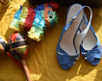 """Made In Italy 1950s Summer Sky Blue Slingback Leather 2"""" Heel Sandals (NEVER WORN!)"""