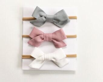 White  Baby Headband // Tiny Bow Headband // Newborn Headband Set  // Gray Headband