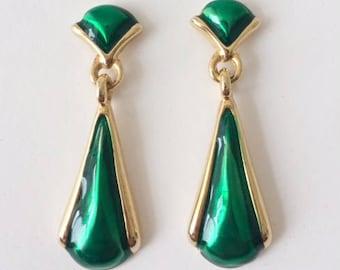 Vintage 1970's Gold Emerald Green Enamel Dangle Drop Earrings