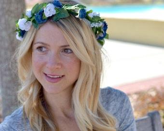 "The ""Claire"" floral halo crown // summer festival crown, boho crown, summer wedding headpiece, bridesmaid headpiece, flower girl crown"