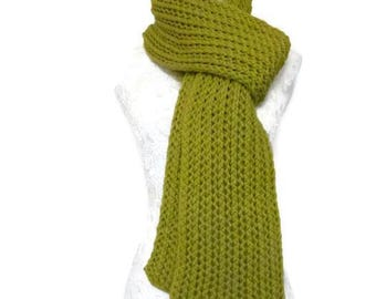 Super Chunky Knitted Scarf // Lime Green Chunky Knit Scarf // Unique Handmade Scarf // Long Warm Womens Scarf // Long Knitted Scarf