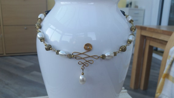 Gold and pearl wire-work necklace on organza ribbon