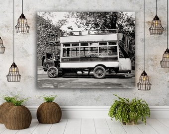New York City Photo, Fifth Avenue Bus, NYC Double Decker Bus, 1910 Housewarming Gift, Loft Art, Wall Art, Industrial Decor