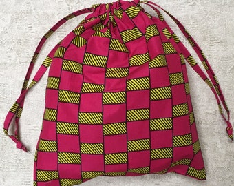 beach bag / laundry - unique - African fabric yellow and fushia pink - bag cotton bag