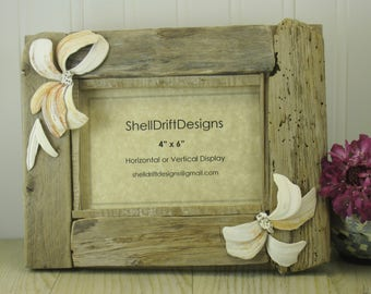 """Driftwood Frame with Shells    4""""x 6"""""""