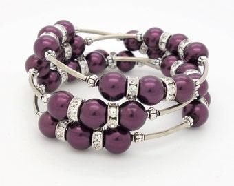 Purple Beaded Bracelet Purple Memory Wire Bracelet Purple Bracelet Purple Wrap Bracelet Silver Crystal Rhinestones Purple Pearls Tube Beads