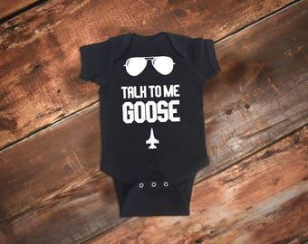 Funny Baby One-Piece Bodysuit, Talk To Me Goose Baby Bodysuit, Funny Boy Clothes, Funny Baby Clothes