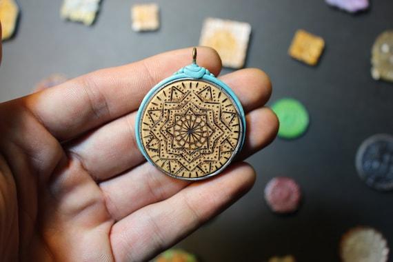 Mandala Pendant made with Blessings (DoubleSided Woodburn Handmade)