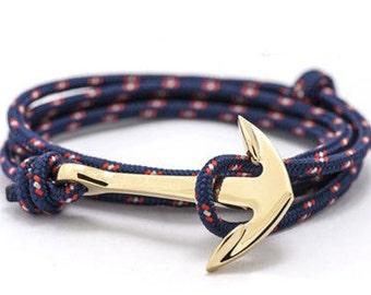 Bracelet men women black rope Golden Navy anchor or red