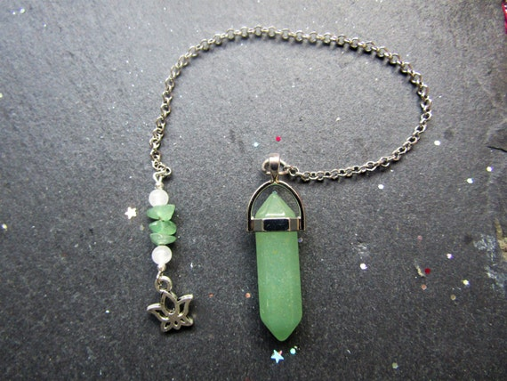 Clear mind Green Aventurine Pendulum with Lotus flower, Pendulum, Divination, Yes No pendulum reading,  pendulum dowsing, metaphysical