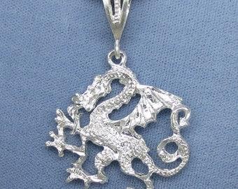 """Sterling Silver 22"""" Dragon Pendant Necklace 22g Fancy Dancy Jewelry"""