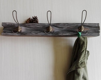 ORIGINAL Solid Oak Coats Hanger with 3 Antique Bronze Hooks & Shelf // Recycled Entry Wall Furniture Steampunk Clothes Display Hooks Fixture