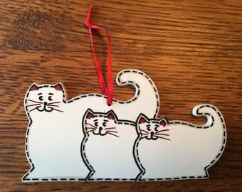 3 Cat Family Ornament