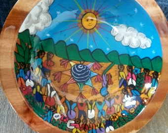 "10"" Celebration Hand Painted Mexican wooden bowl, Salad bowl, Teacher Appreciation Gift, Home décor"