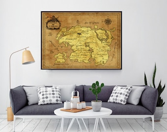 Skyrim ,Skyrim Map, Elder Scrolls Map, Tamriel Map, Morrowind, Oblivion Map, Dragonborn, Home Decor, Anniversary Gift, Bridal Gift