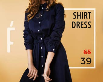 Shirtdress. SALE! Cotton. Dress