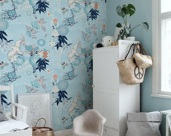 Chinoiserie wallpaper, Crane and flowers wall mural, Removable, Peel&Stick, Baby blue wallpaper, Repositionable, Oriental, Floral #113