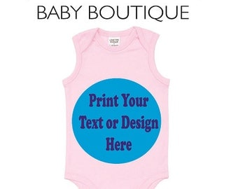 Personalised Pink Baby Bodysuit - We print any custom Text or Design you like