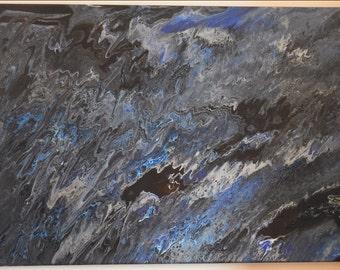 Ice Storm - Fluid Acrylic Painting