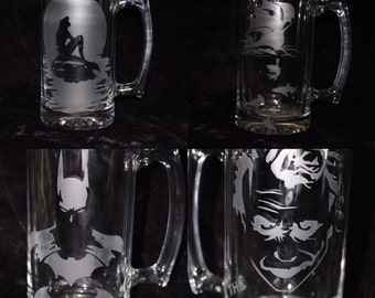 Glass Etched Mugs - Batman, The Joker, Mermaid, and Ship