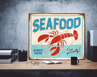 Seafood Iron Sign, An iron cafe sign, Iron plate of cafe, Gift to the restaurant, Seafood metal sign, Metal sign, Metal food sign