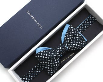 Mens bow tie Black and Blue bow tie 100%Cotton men's self tie bow tie Self Tied bow tie