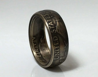 Benjamin Franklin 90% Silver Half Dollar Coin Ring