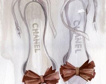 Chanel Shoes Illustration, Fashion Illustration Print, Watercolor, Fashion wall art, Classic Chanel Print, Fashion Decor