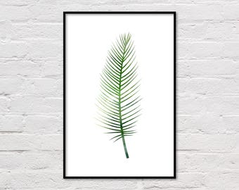 Palm Leaf Print, Tropical Print, Palm Print, Nature Print, Botanical Printable, Green Wall Art, Nature Decor, Plant Print, Digital Download