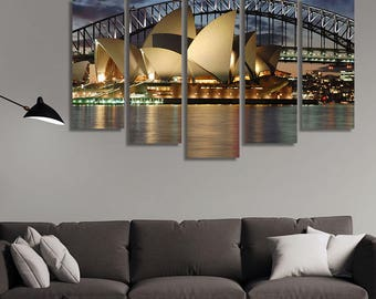 LARGE XL Sydney Opera House with Harbour Bridge Canvas Print Sydney at Night Detail Canvas Wall Art Print Home Decoration - Stretched