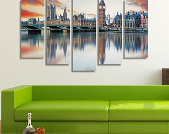 LARGE XL London Big Ben Canvas Art, Big Ben and Houses of Parliament Canvas, Houses of Parliament Wall Art Print Home Decoration - STRETCHED