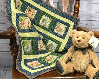 Handmade Winnie the Pooh and Friends Baby Quilt, Winnie the Pooh, Baby Blanket, Winnie the Pooh Quilt, Blue Baby Quilt, Baby Shower Gift