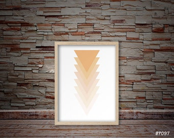 triangle art, triangle print, orange triangle art, minimalist art, modern art, home warming art, abstract art, geometric triangle art #P097