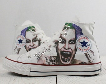 Joker Jared Leto custom gift painted Converse shoes