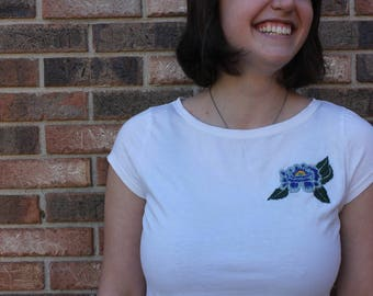 S A L E ***Upcycled Hand Embroidered Floral Top- M